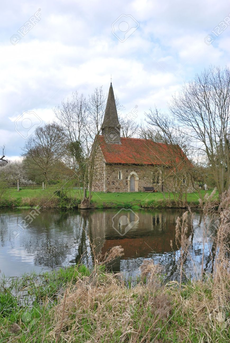 small church by river Stock Photo - 13222592