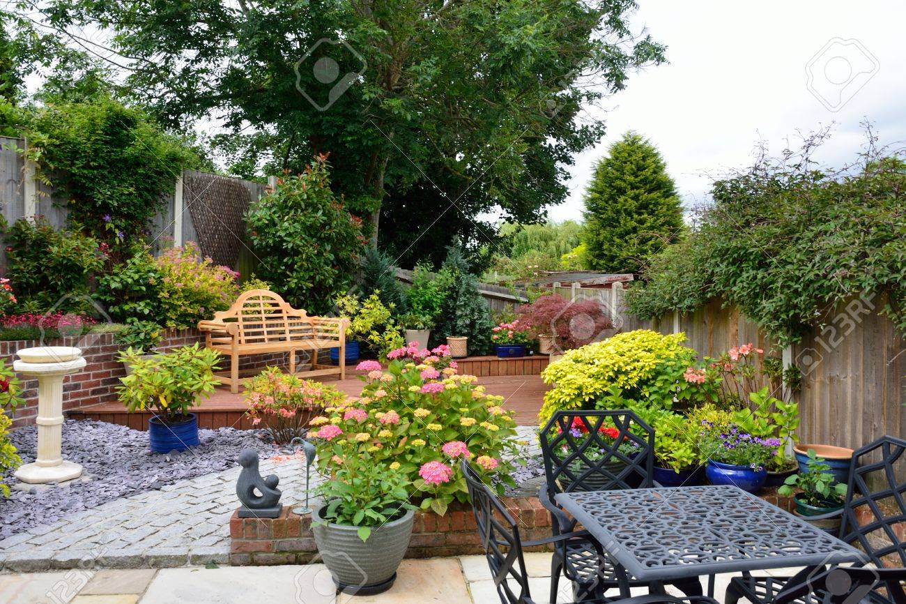 Small Low Maintenance English Garden Stock Photo
