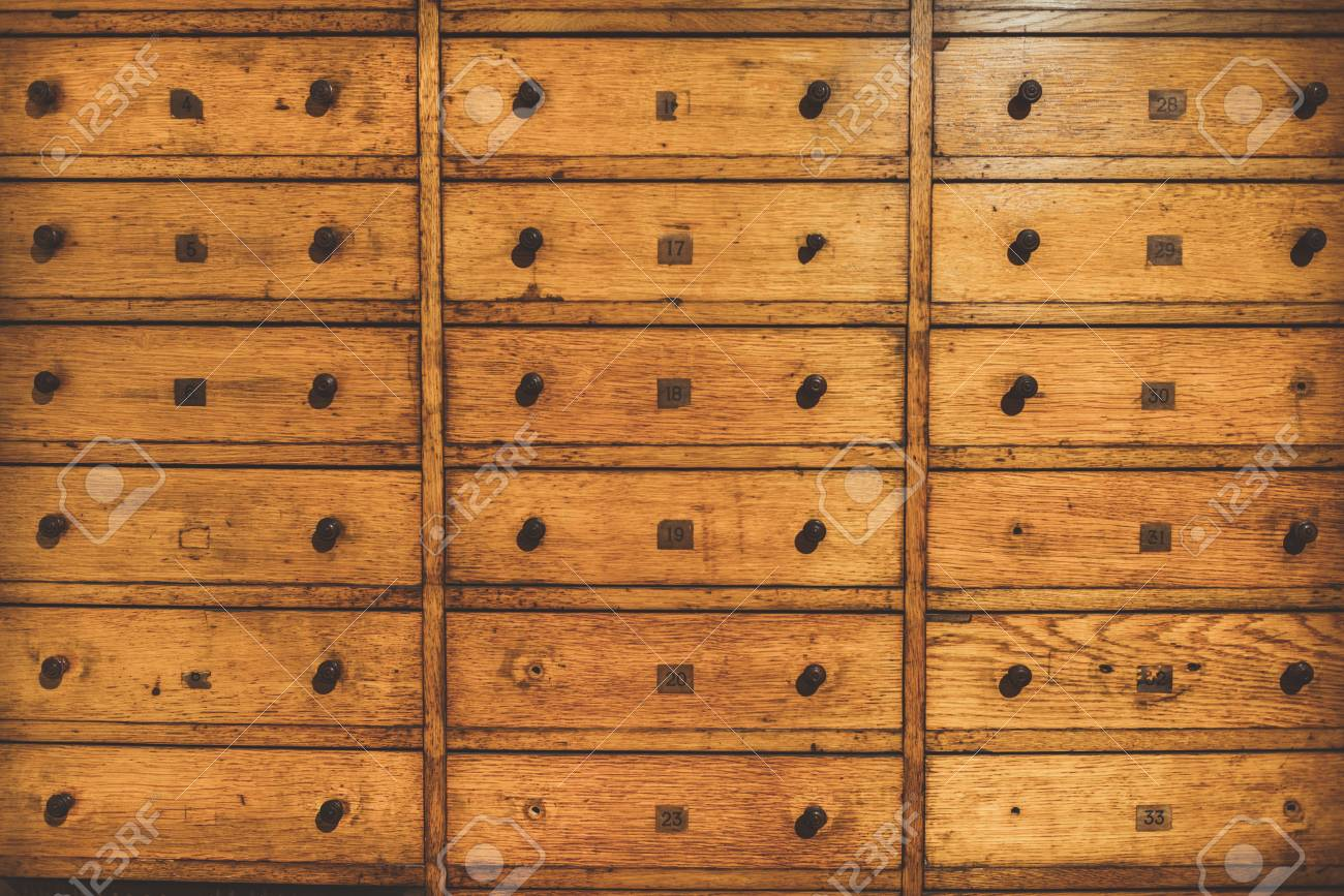 Old Vintage Wooden Drawer Organizer. Retro Card File Cabinet. Vintage  Filter Applied Stock Photo