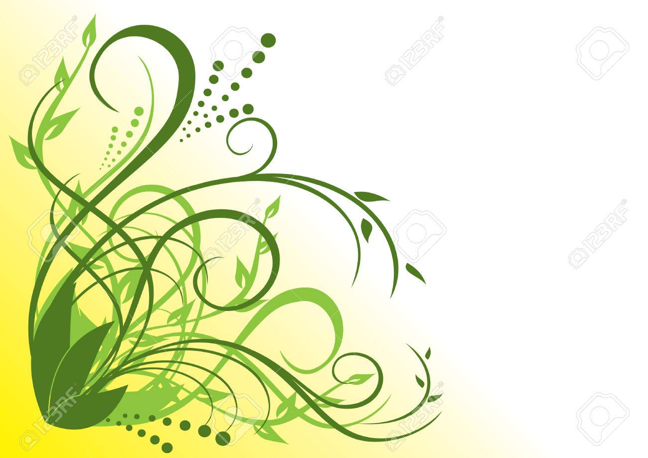 green and yellow floral illustration Stock Vector - 7054206