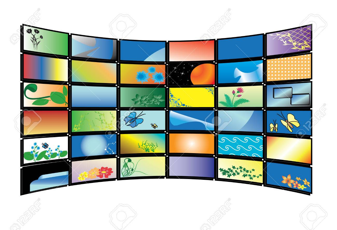 3D  color tv monitors Stock Vector - 7054324