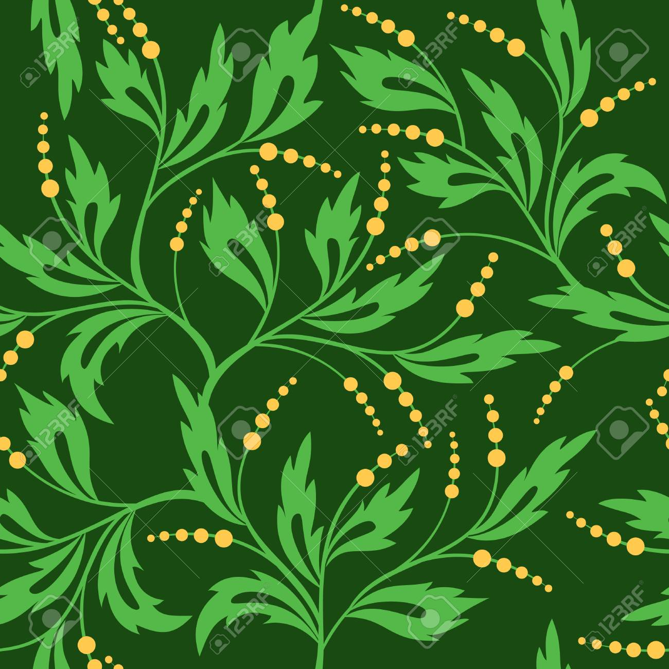dark green seamless floral pattern Stock Vector - 8518161