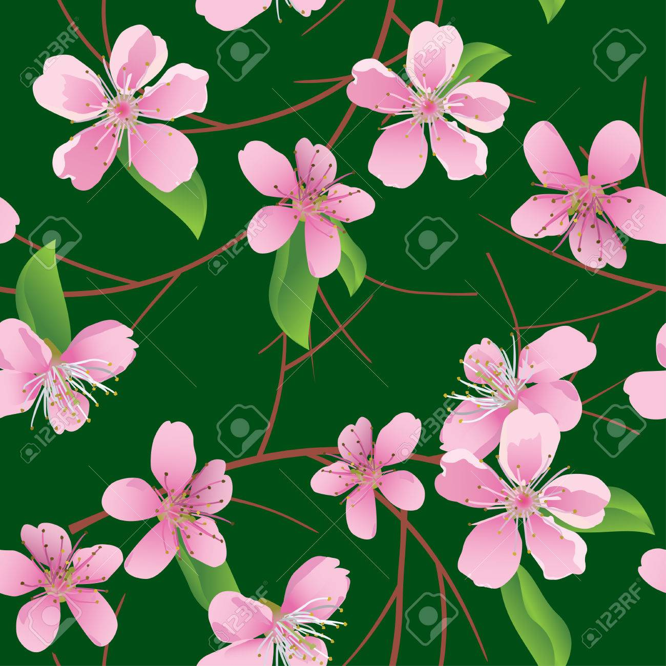 vector dark green seamless pattern with peach flowers Stock Vector - 8982851