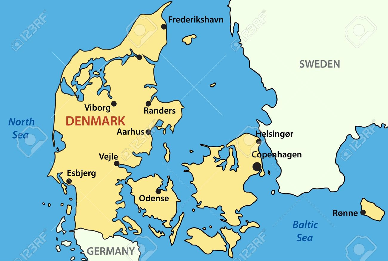 Map Of Denmark Royalty Free Cliparts, Vectors, And Stock ... Denmark Map on