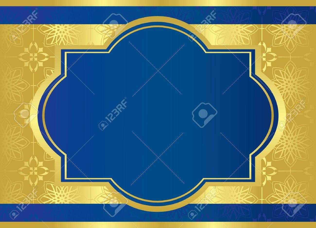 vector blue card with golden center frame Stock Vector - 9482846