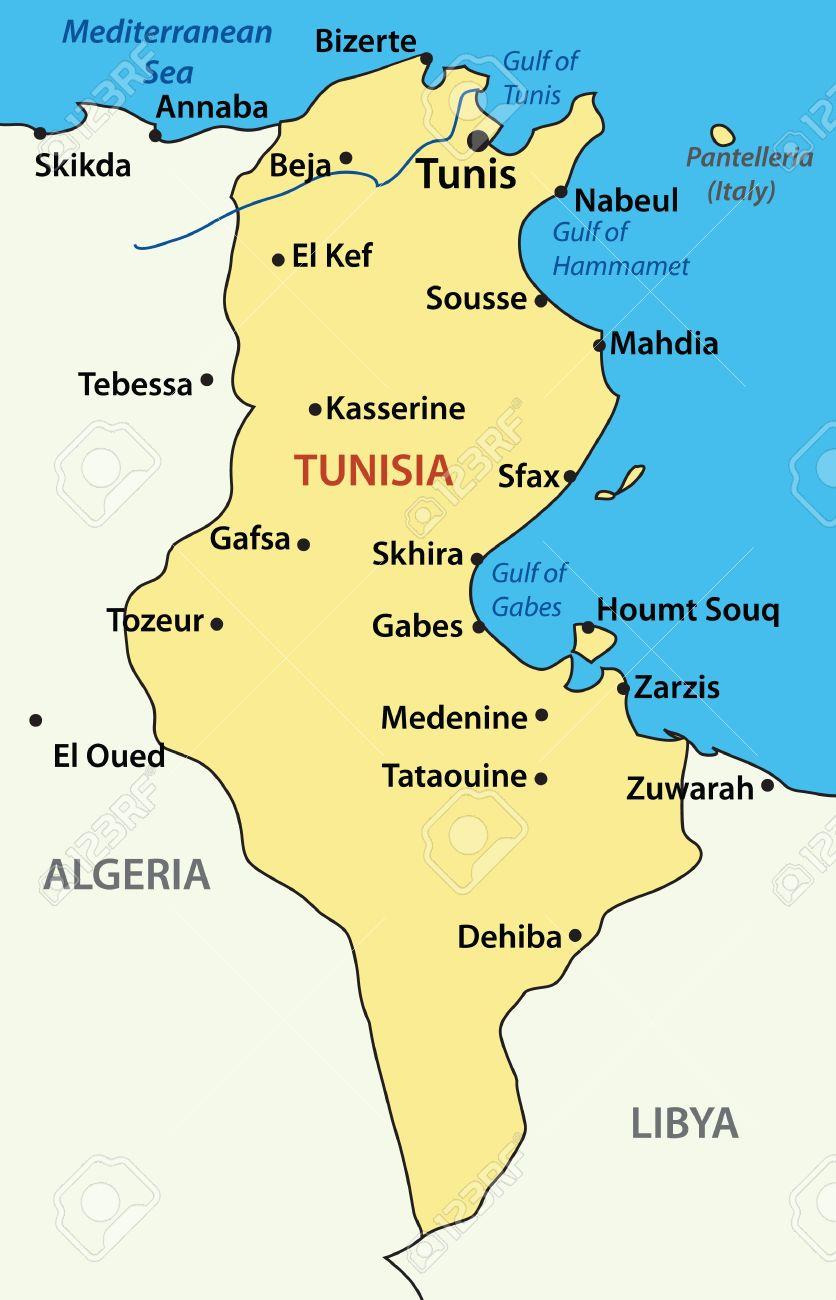 Mapa De Túnez. Ilustraciones Vectoriales, Clip Art Vectorizado ...