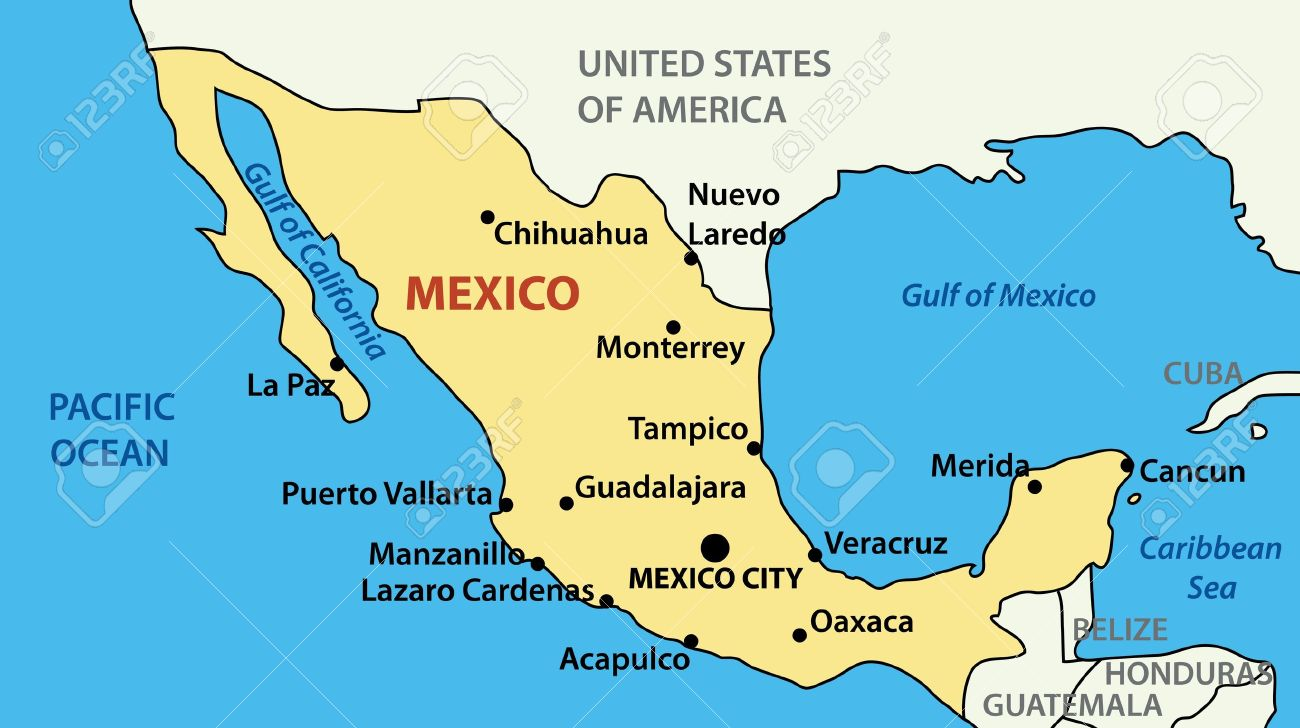 Map Of United Mexican States Royalty Free Cliparts Vectors And - Us mexico vector map