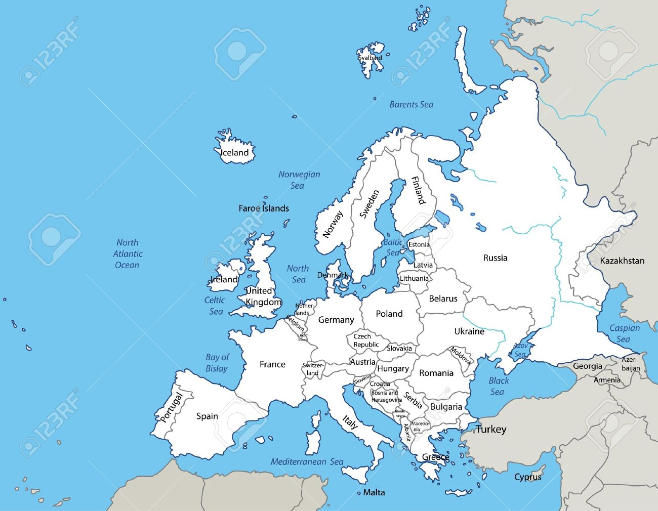 illustration - map of the Europe. Source: http://en.wikipedia.org/wiki/Europe - 9931135