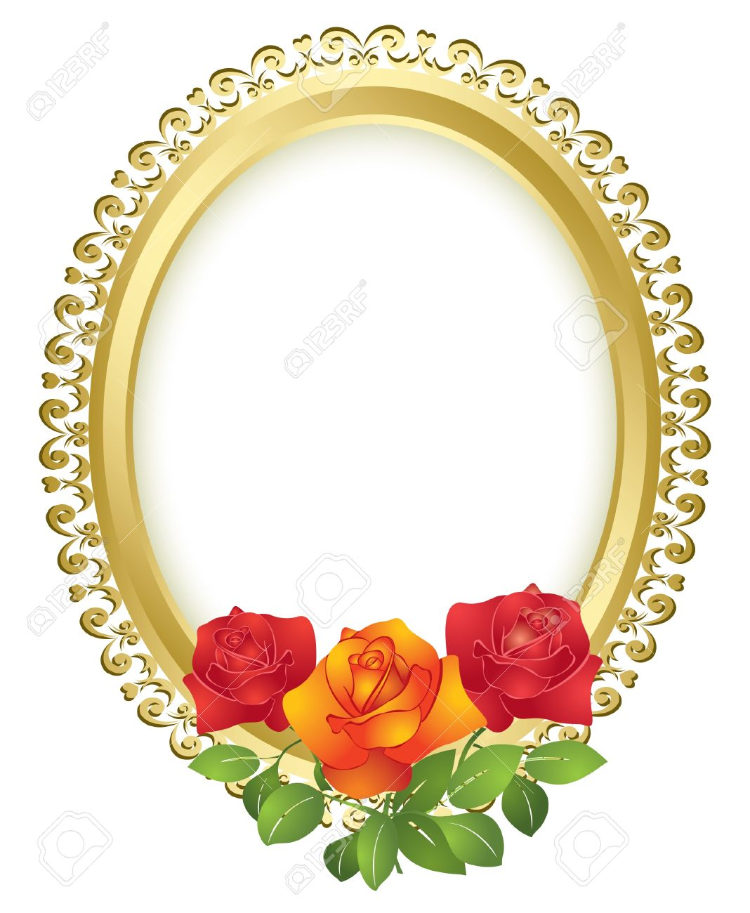 71d1ebfc7c5d oval golden frame with roses - vector Stock Vector - 10362984