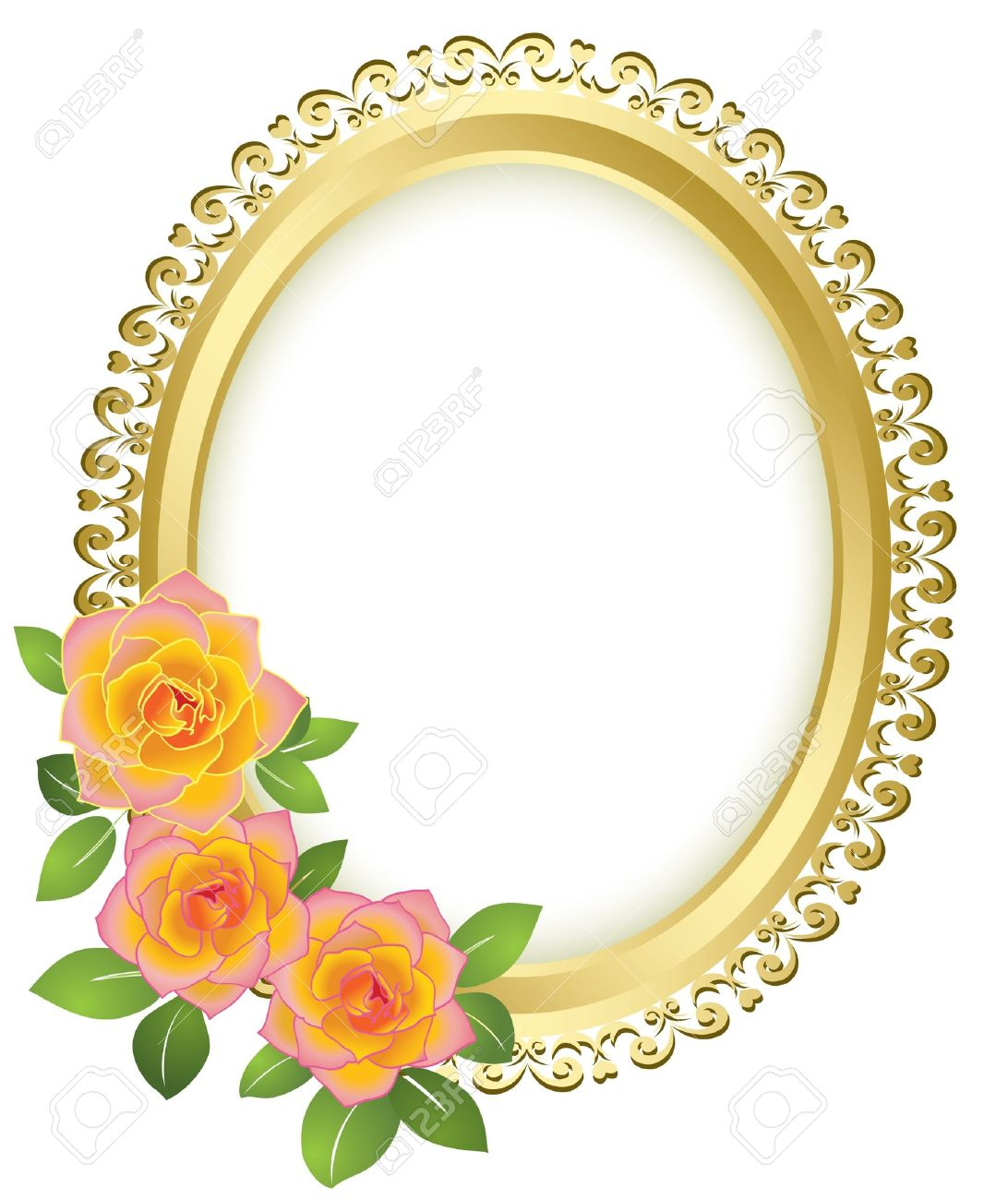 golden oval frame with flowers vector royalty free cliparts