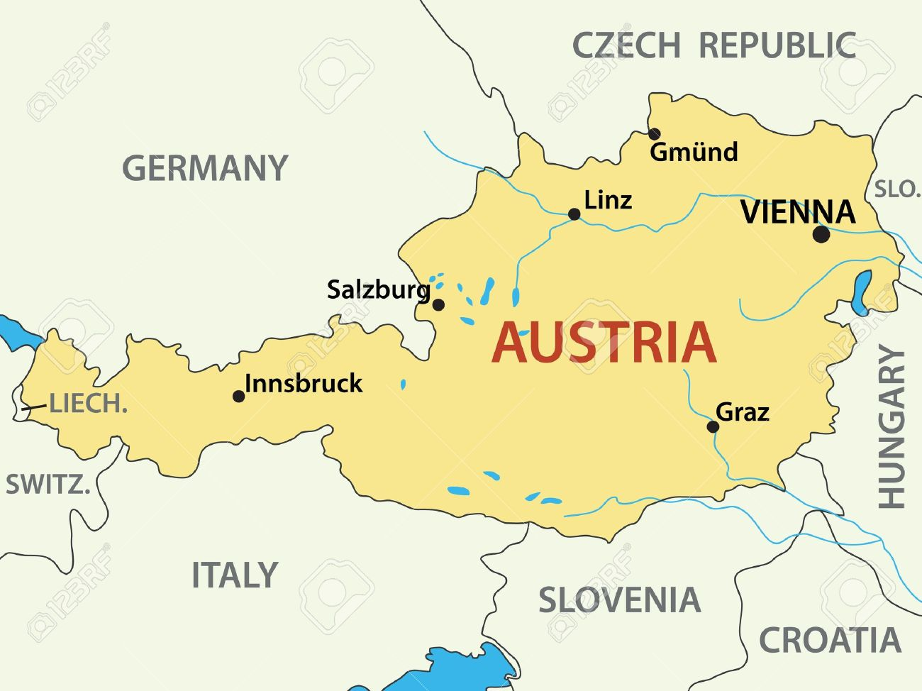 Map Of Austria Vector Illustration Royalty Free Cliparts Vectors