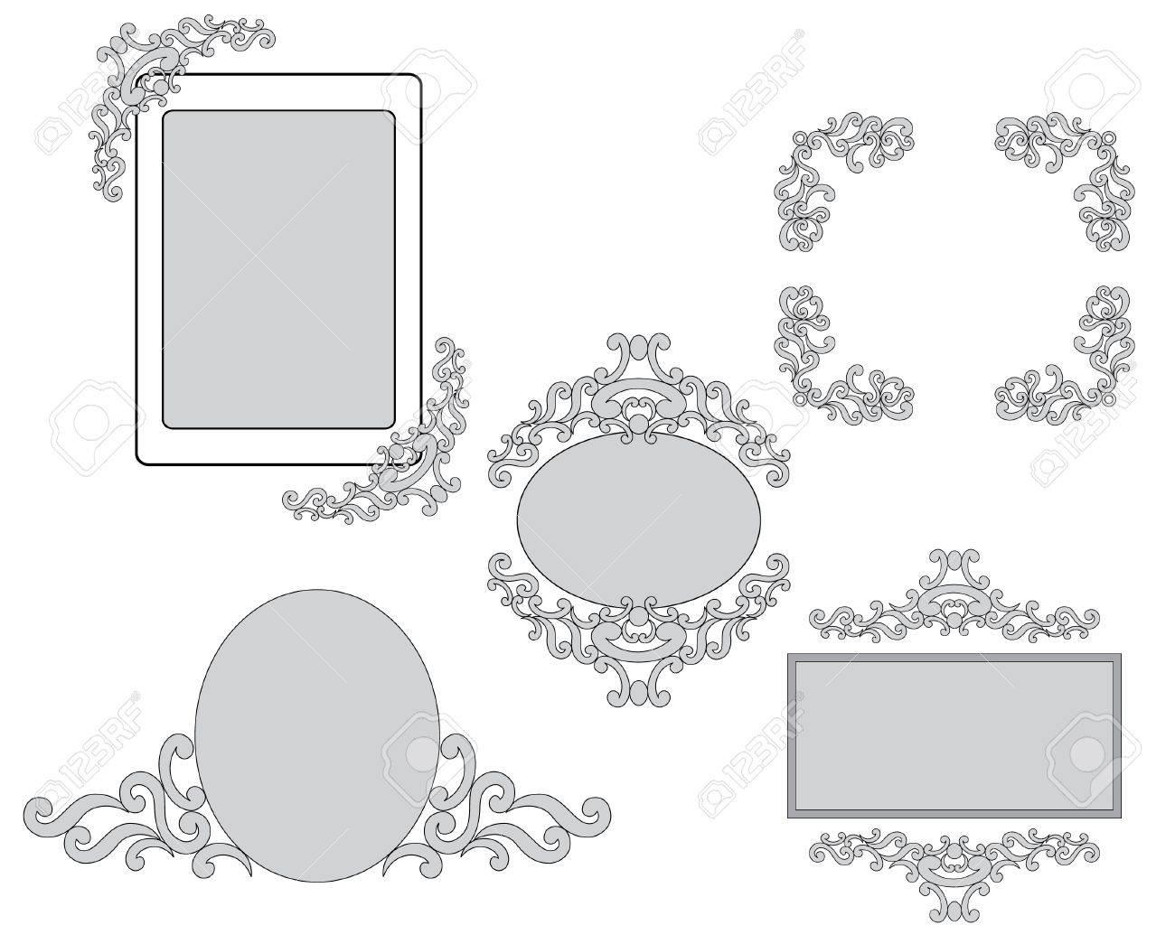 Conjunto - Vector De Tracería Y Marcos Para El Diseño Ilustraciones ...