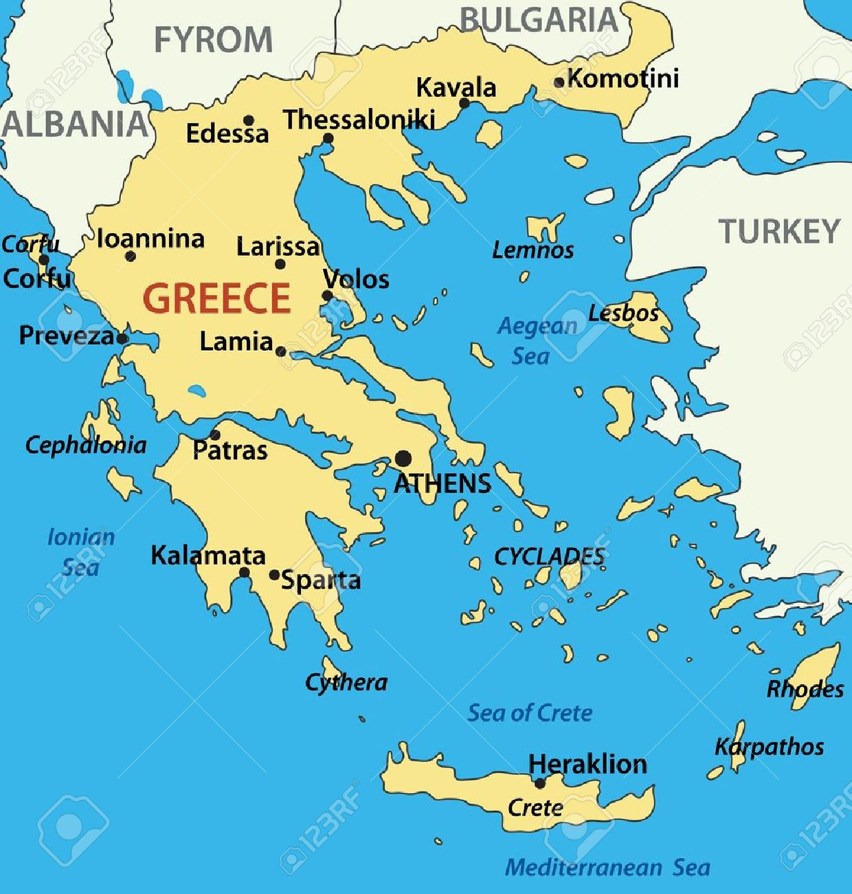 Map Of Greece Vector Illustration Royalty Free Cliparts Vectors