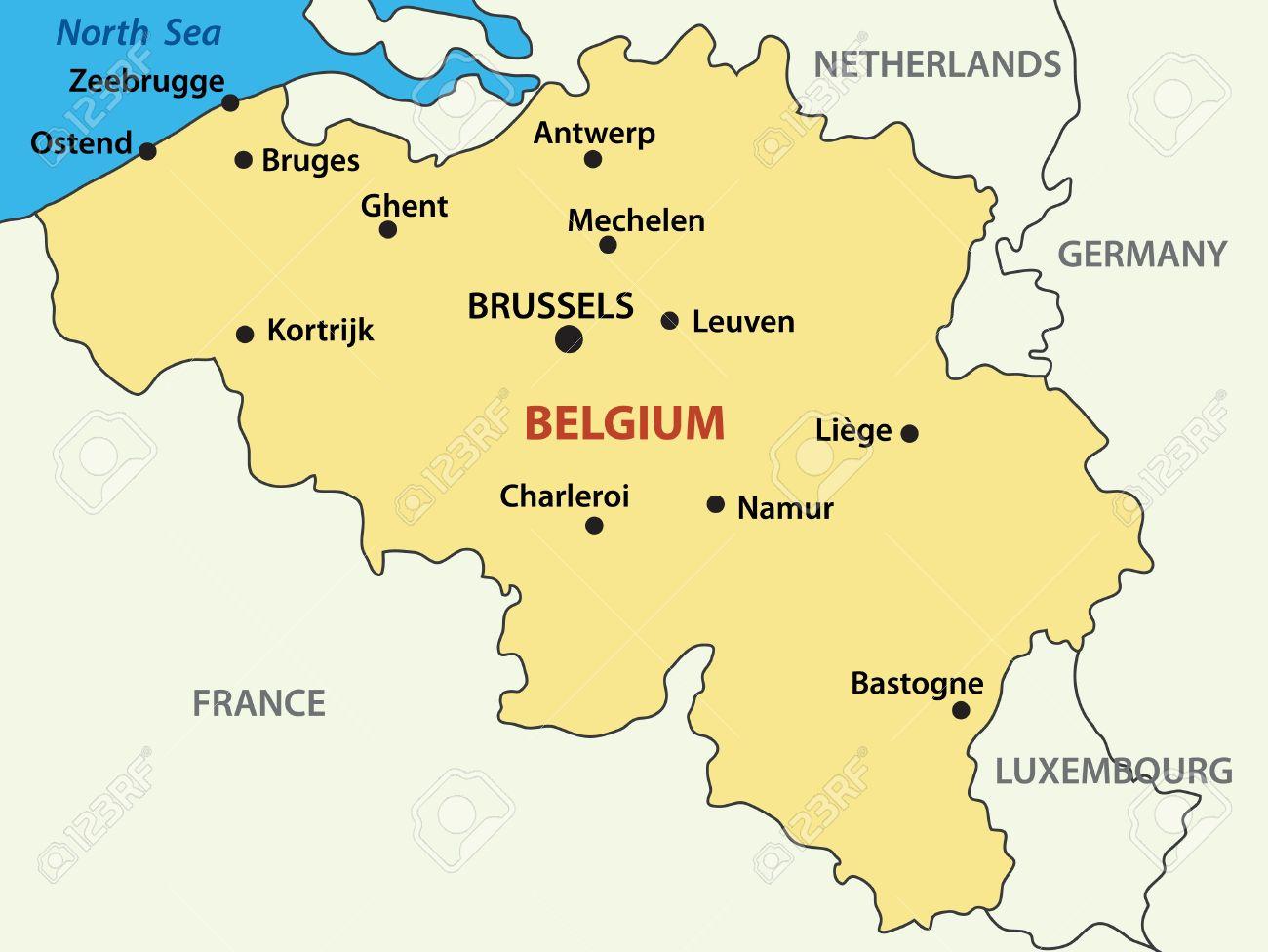 map kingdom of belgium stock vector 11314908