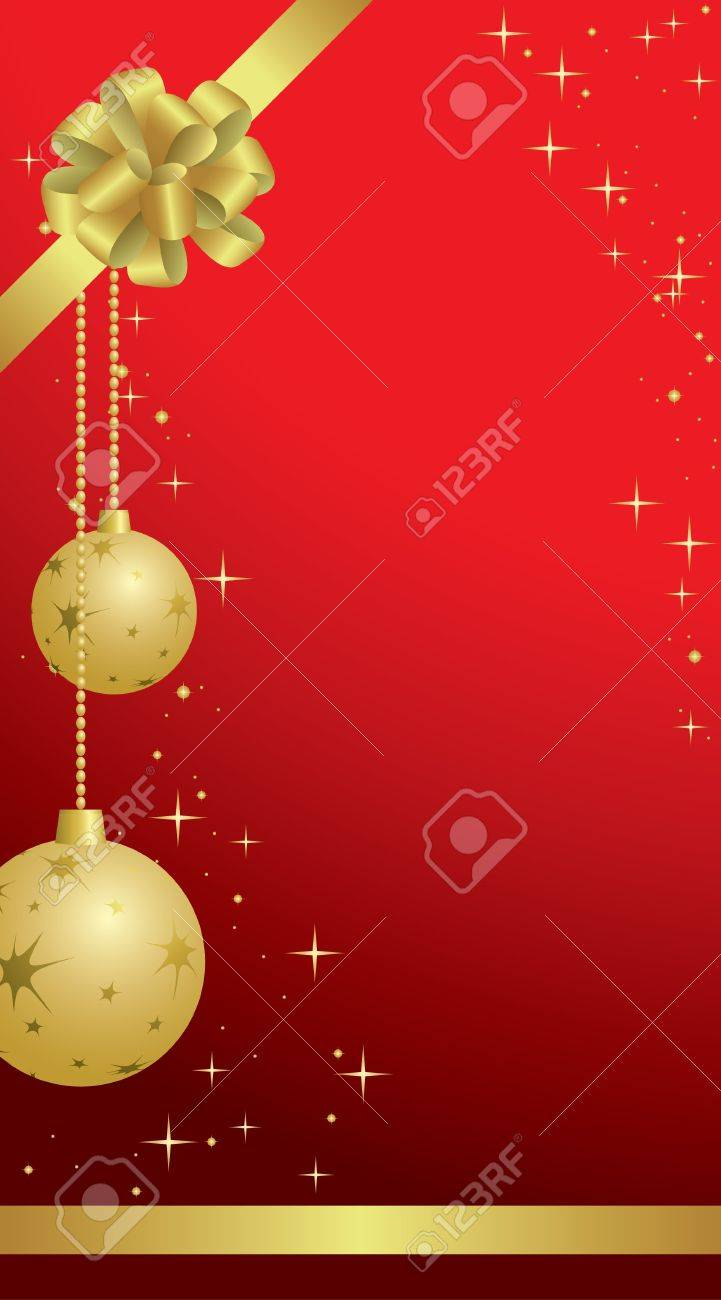 red vector christmas frames with balls and bow Stock Vector - 11478942