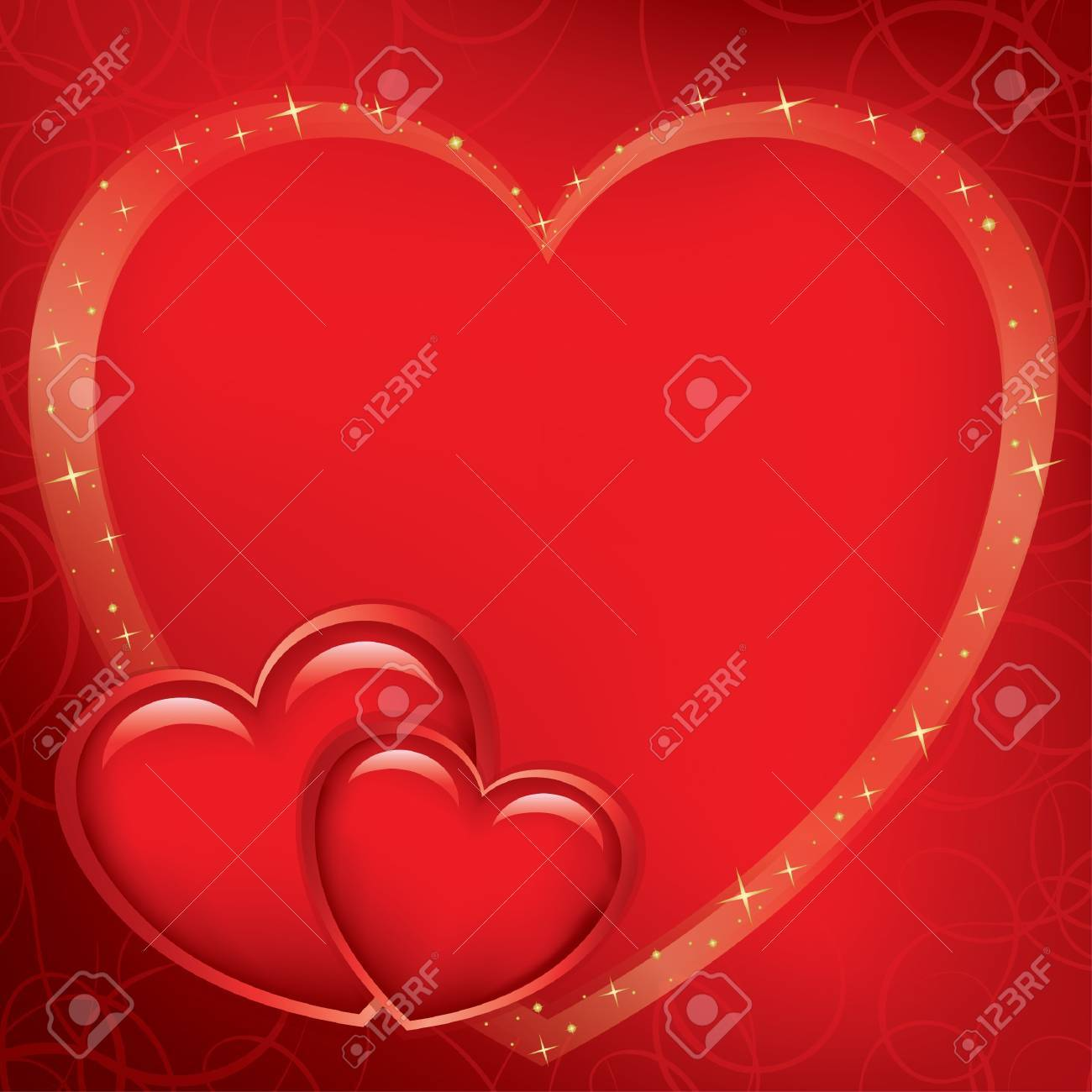 red romantic card for valentine's day - vector Stock Vector - 11782350