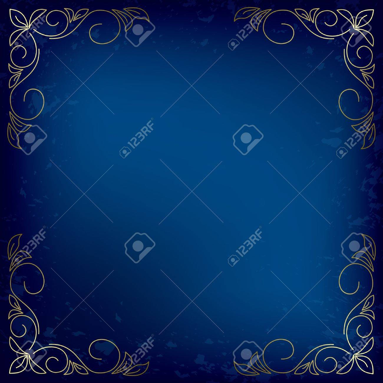 dark blue vector card with gold decor Stock Vector - 12794583