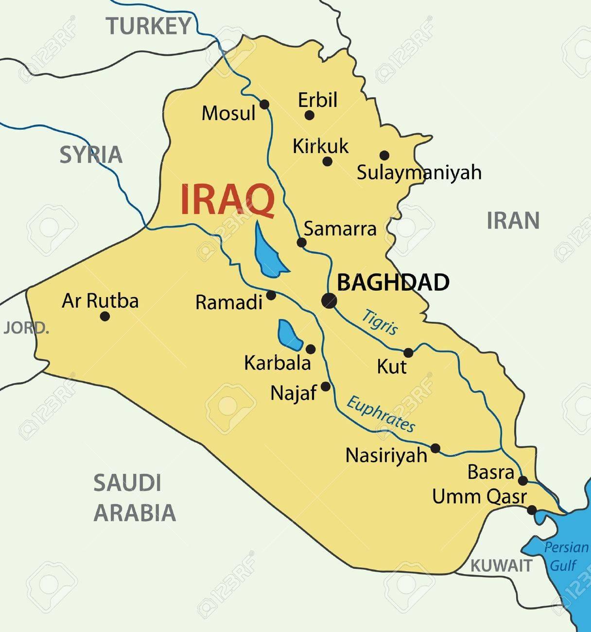 republic of iraq vector map stock vector 13228055
