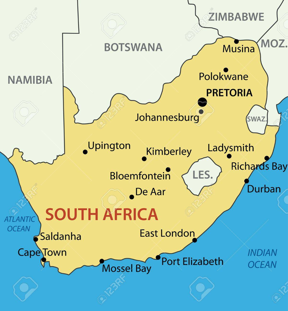 Republic Of South Africa Vector Map Royalty Free Cliparts Vectors