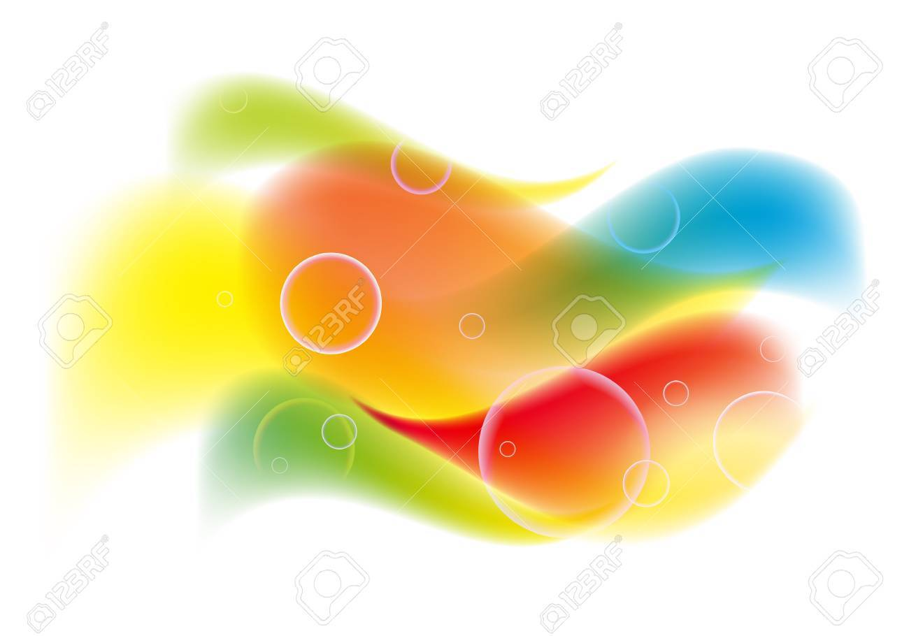 abstract colorful background with waves and bubbles Stock Vector - 13894969
