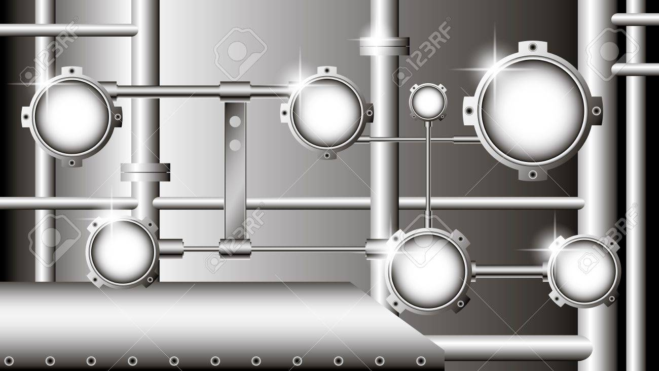 industrial illustration with metallic pipes and devices Stock Vector - 14086777