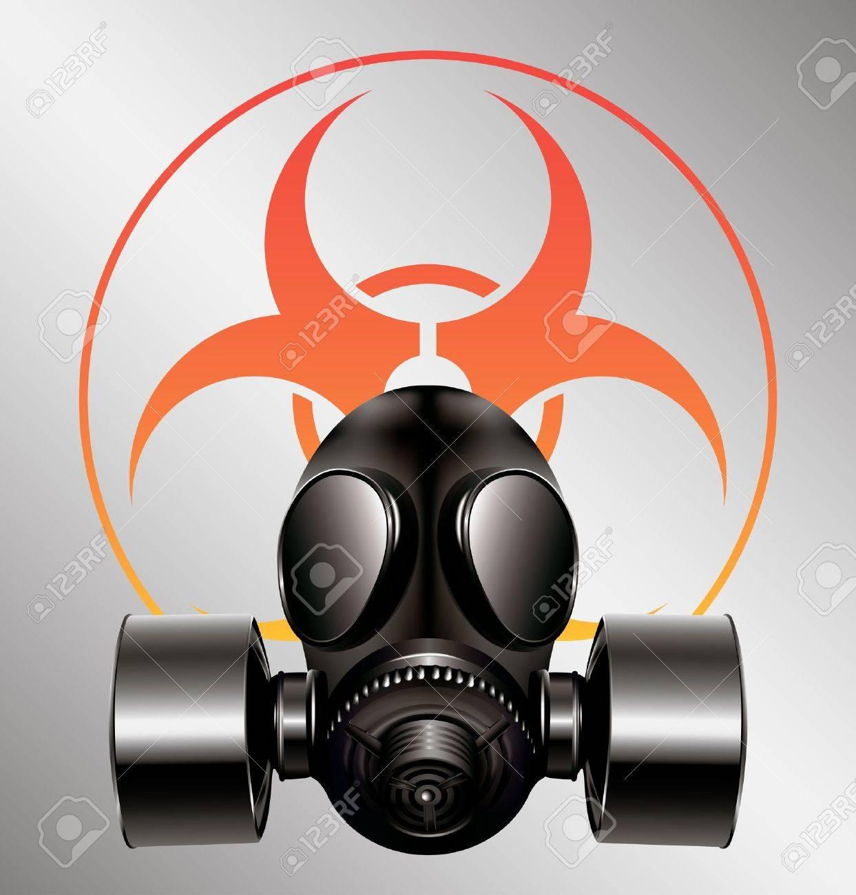 black gas mask with biohazard symbol Stock Vector - 14181090