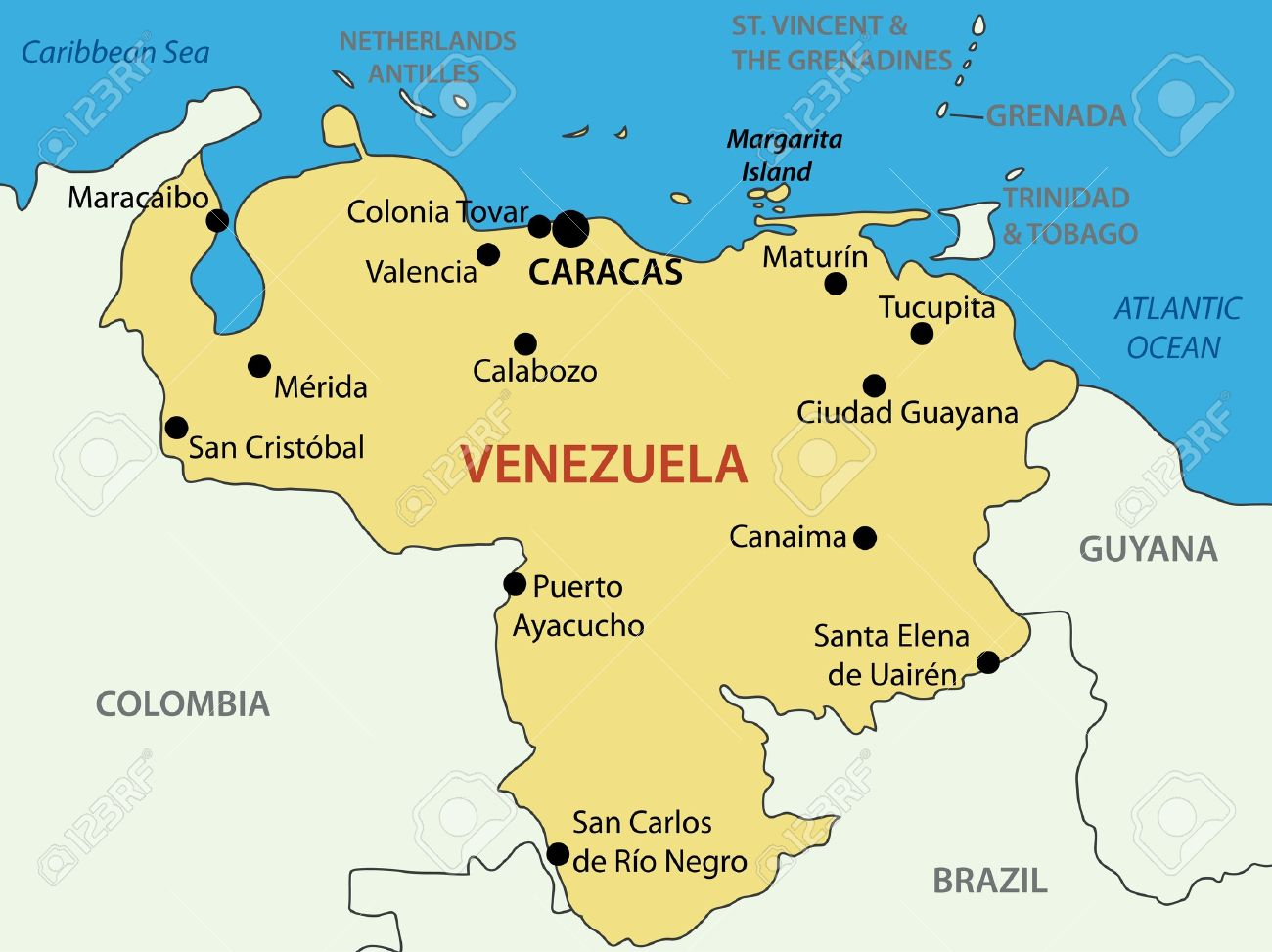 Bolivarian Republic Of Venezuela Map Source For Map Http Royalty