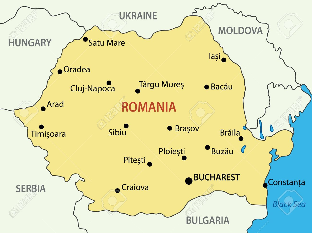 Romania Vector Map Royalty Free Cliparts Vectors And Stock