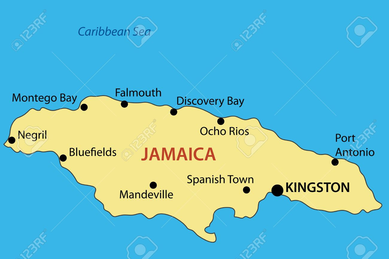 Commonwealth Of Jamaica Vector Map Royalty Free Cliparts - Jamaica map