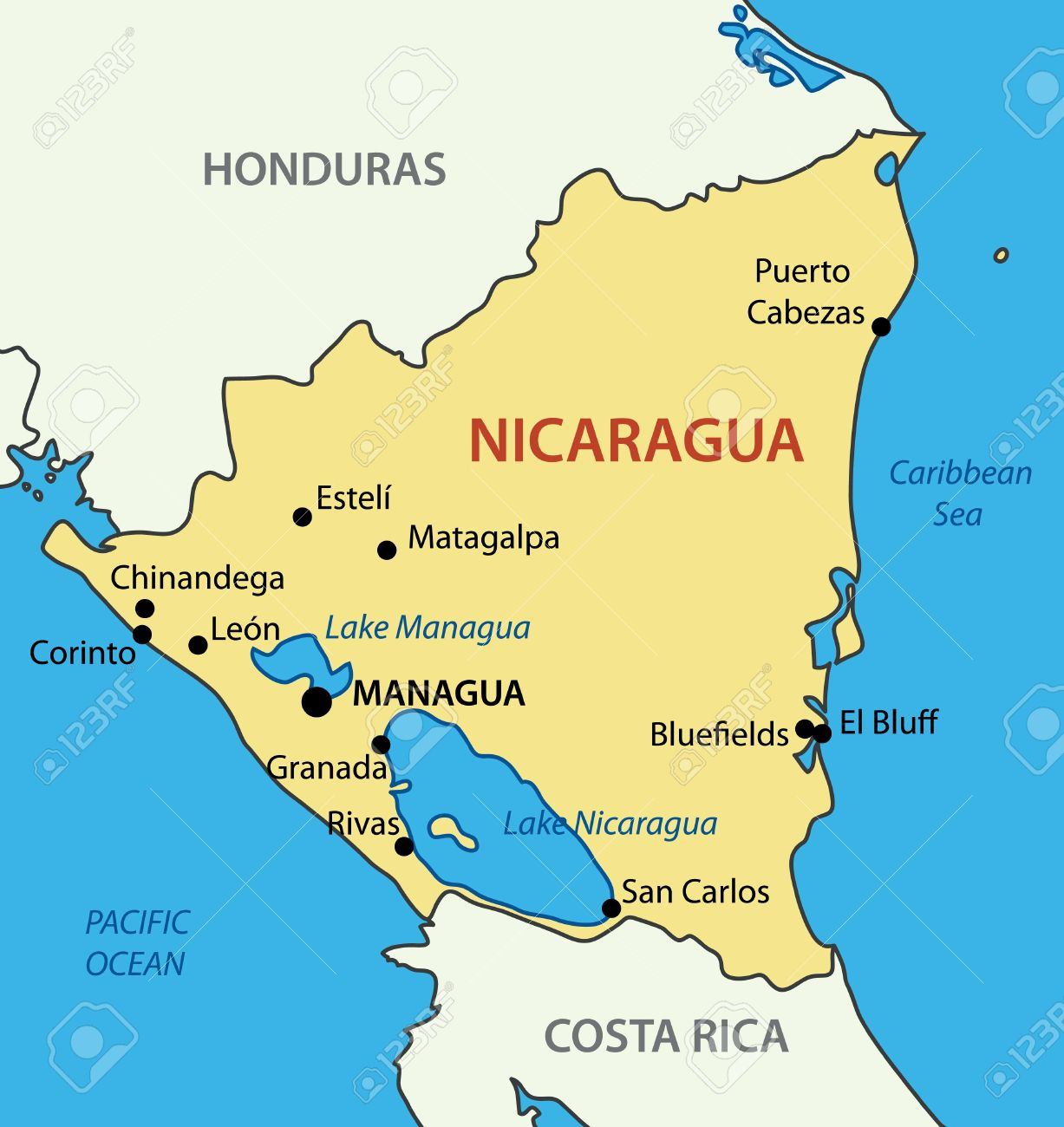 Republic Of Nicaragua Vector Map Royalty Free Cliparts Vectors - Map of nicaragua