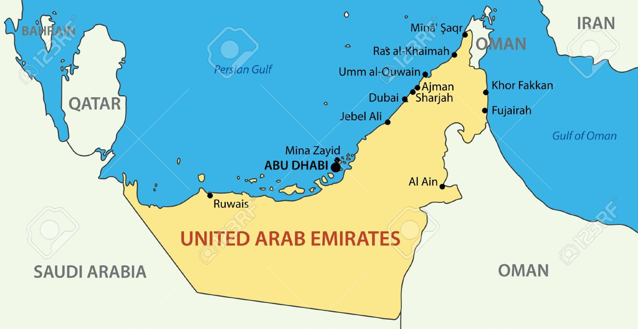United Arab Emirates Vector Map Royalty Free Cliparts Vectors – Map of Oman and Uae