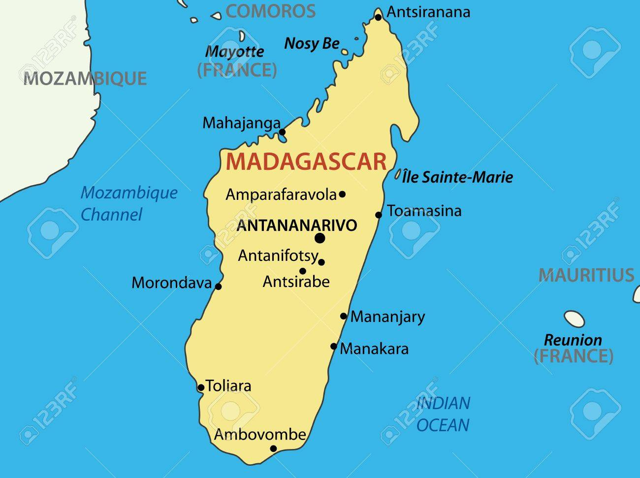Republic Of Madagascar Map Royalty Free Cliparts Vectors And - Madagascar map