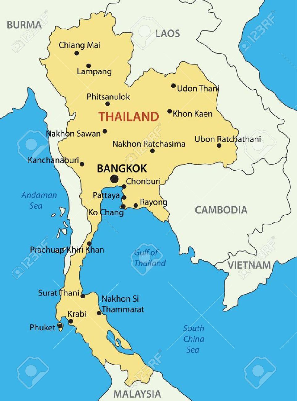 Thailand Karte.Stock Photo