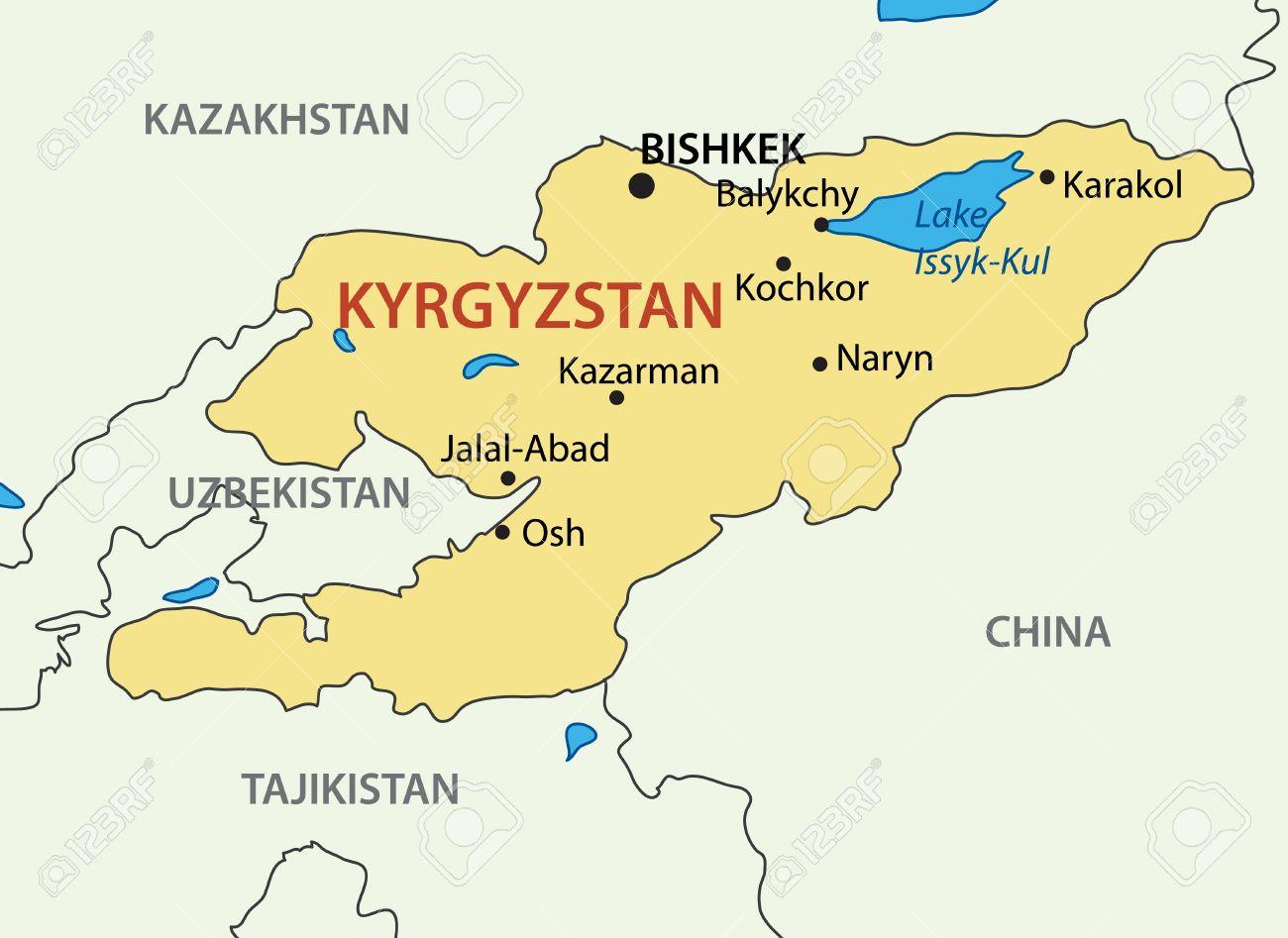 Kyrgyz Republic Kyrgyzstan Map Royalty Free Cliparts Vectors - Kyrgyzstan map