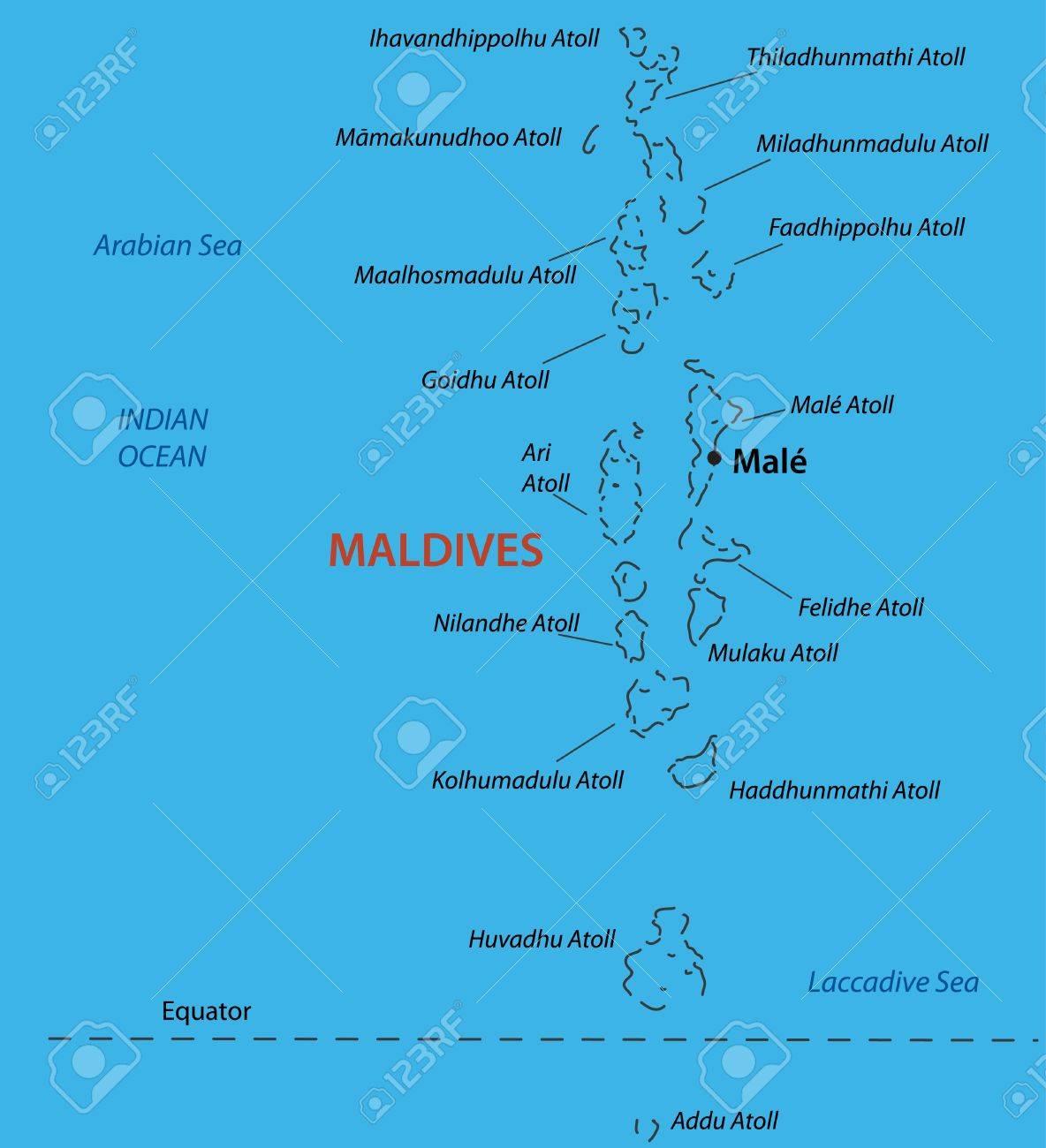 Republic Of The Maldives Vector Map Royalty Free Cliparts - Republic of maldives map