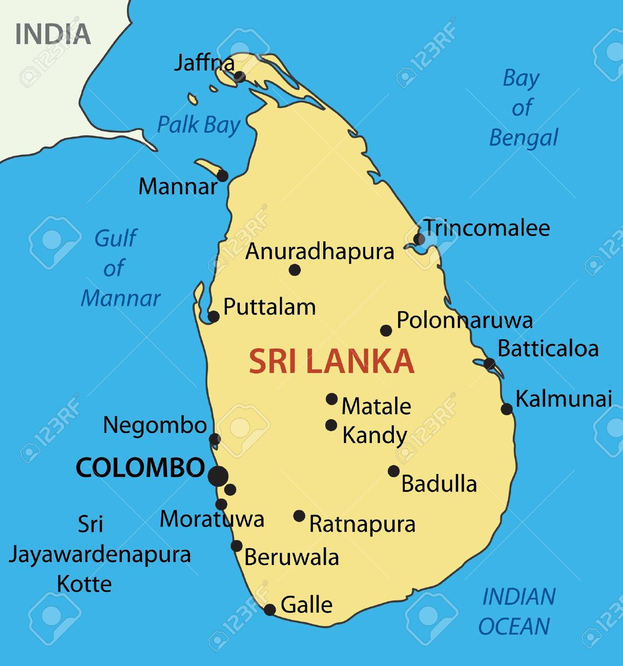 Democratic Socialist Republic Of Sri Lanka Vector Map Royalty