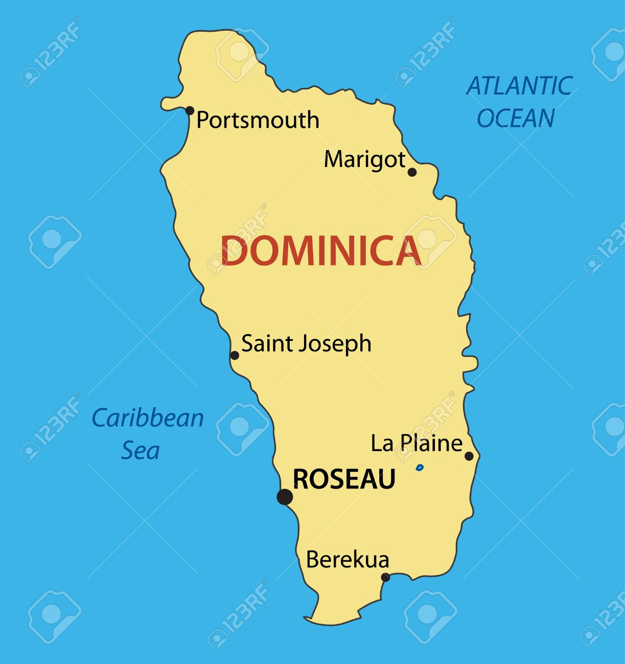 Commonwealth Of Dominica Vector Map Royalty Free Cliparts - Map of dominica caribbean sea