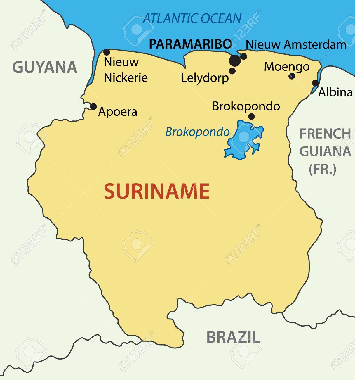 Republic Of Suriname Vector Map Royalty Free Cliparts Vectors - Suriname map