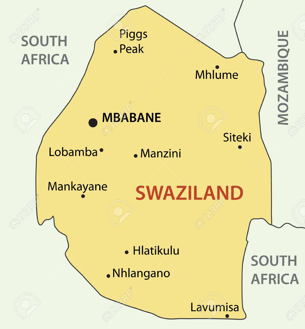 Kingdom Of Swaziland Vector Map Royalty Free Cliparts Vectors - Swaziland map