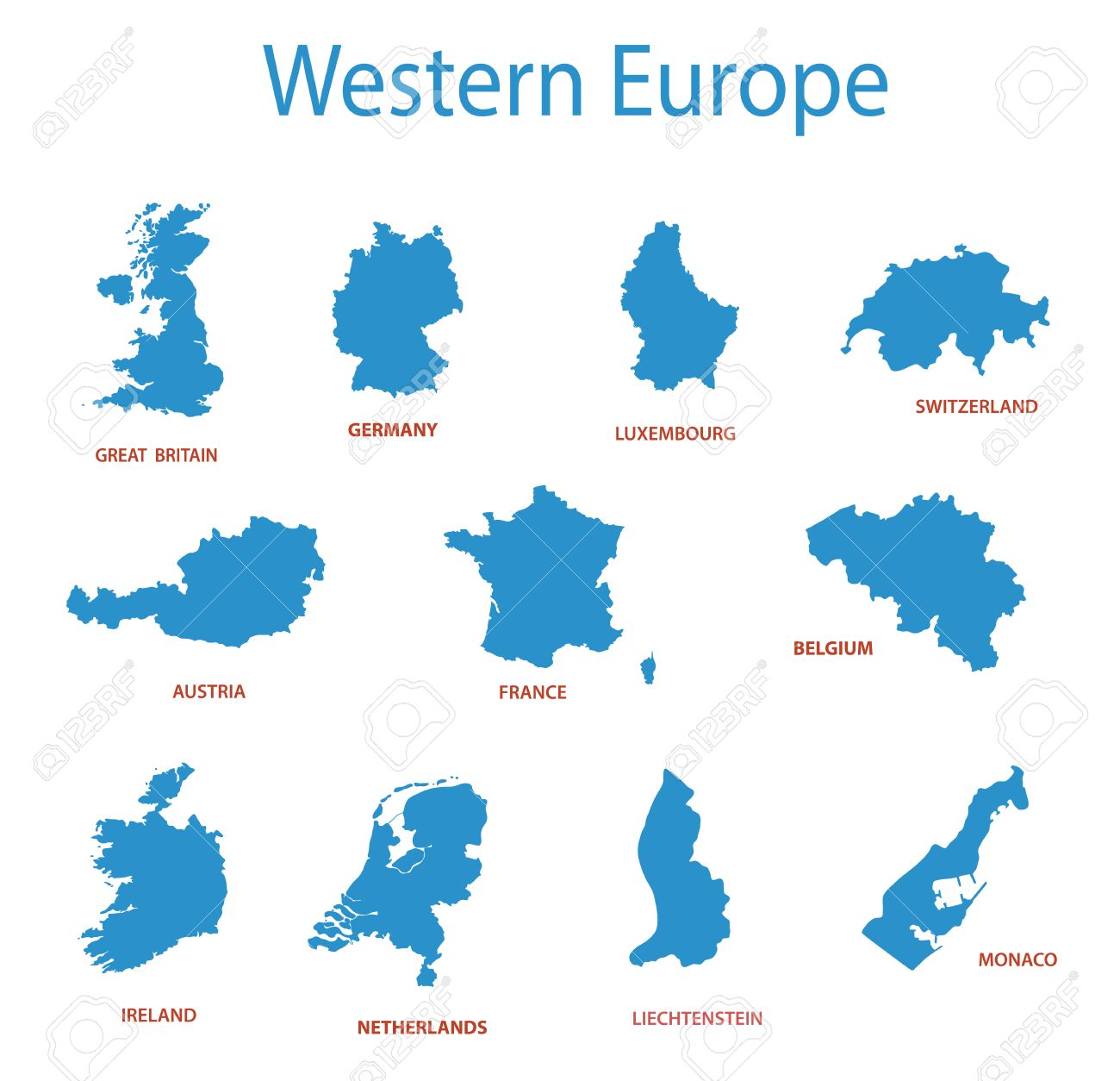 Western Europe Vector Maps Of Territories Royalty Free Cliparts - Western europe