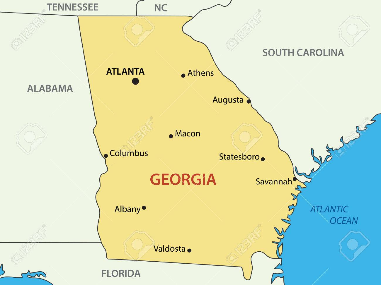 Georgia US State Vector Map Royalty Free Cliparts Vectors - Georgia map us