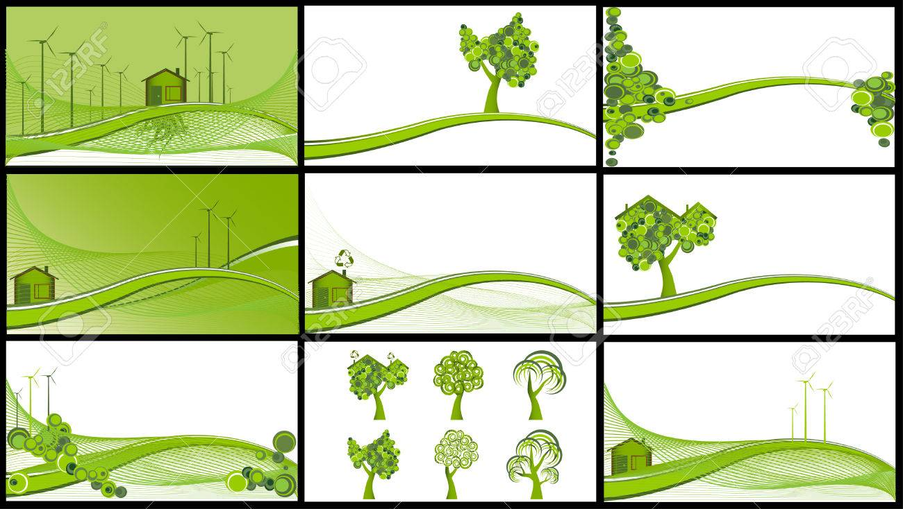 Collection of 9 ecological backgrounds, vector illustration Stock Vector - 5113938