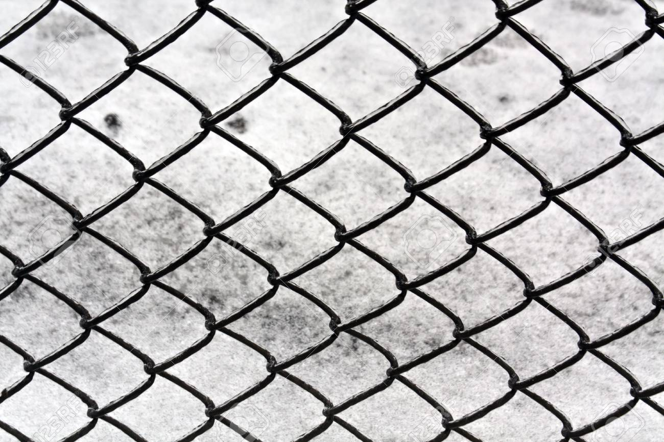 Wire Fence And Snow Texture. Seasonal Background Stock Photo ...