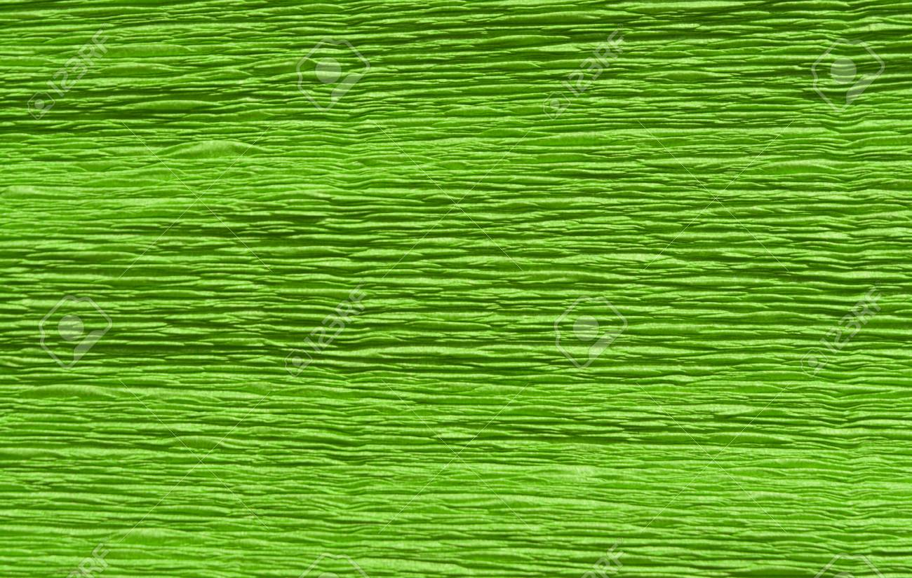 Green Color Crepe Paper Closeup Background And Texture For Design