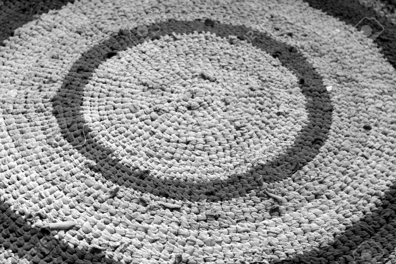 Hand Made Rug In Black And White Abstract Background And Texture