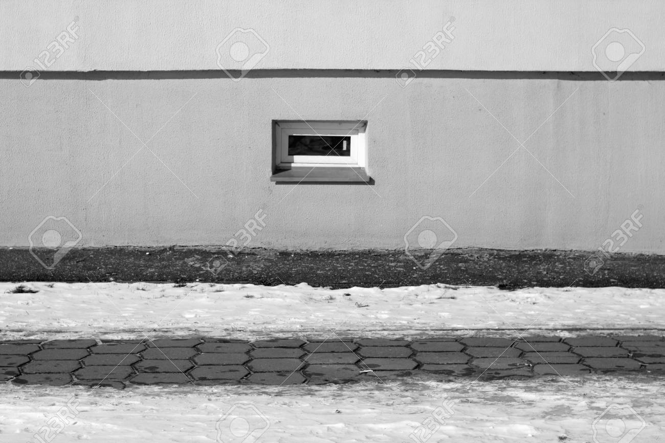 Part Of House Pavement And Snow In Black And White Seasonal Background For Wallpaper Or Design
