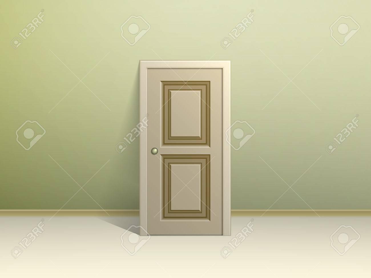 AuBergewohnlich Beige Getäfelten Tür An Die Wand Gelehnt Für Die Anzeige In Einem Zimmer  Mit Grünen Wänden