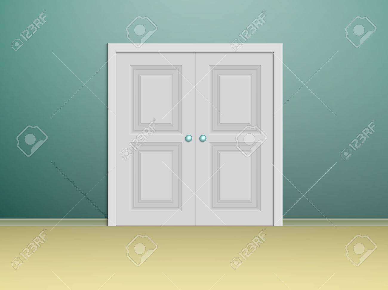 double white panelled doors in a room with turquoise walls Stock Vector - 49596056 & Double White Panelled Doors In A Room With Turquoise Walls Royalty ...
