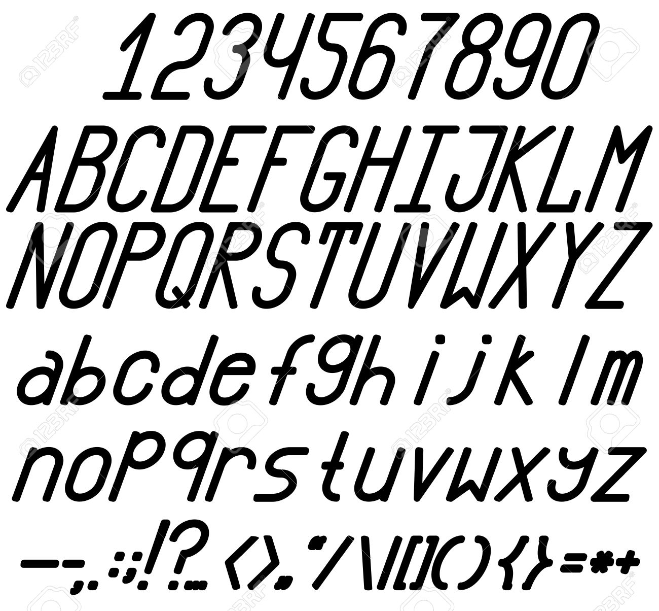 Bold And Italic Fonts A Complete Set Of Letters Numbers Punctuation Marks
