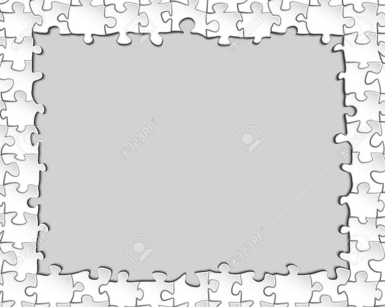 Black-and-white Frame Of The Elements Of The Puzzle With A Blank ...